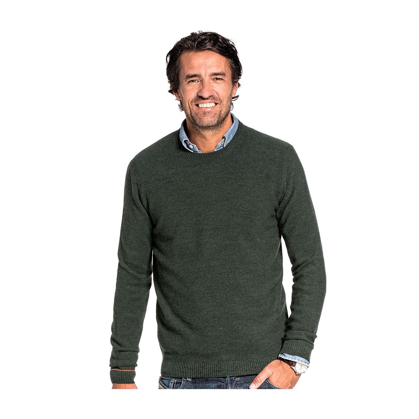 Honeycomb knit sweater for men made of Merino wool in Dark green