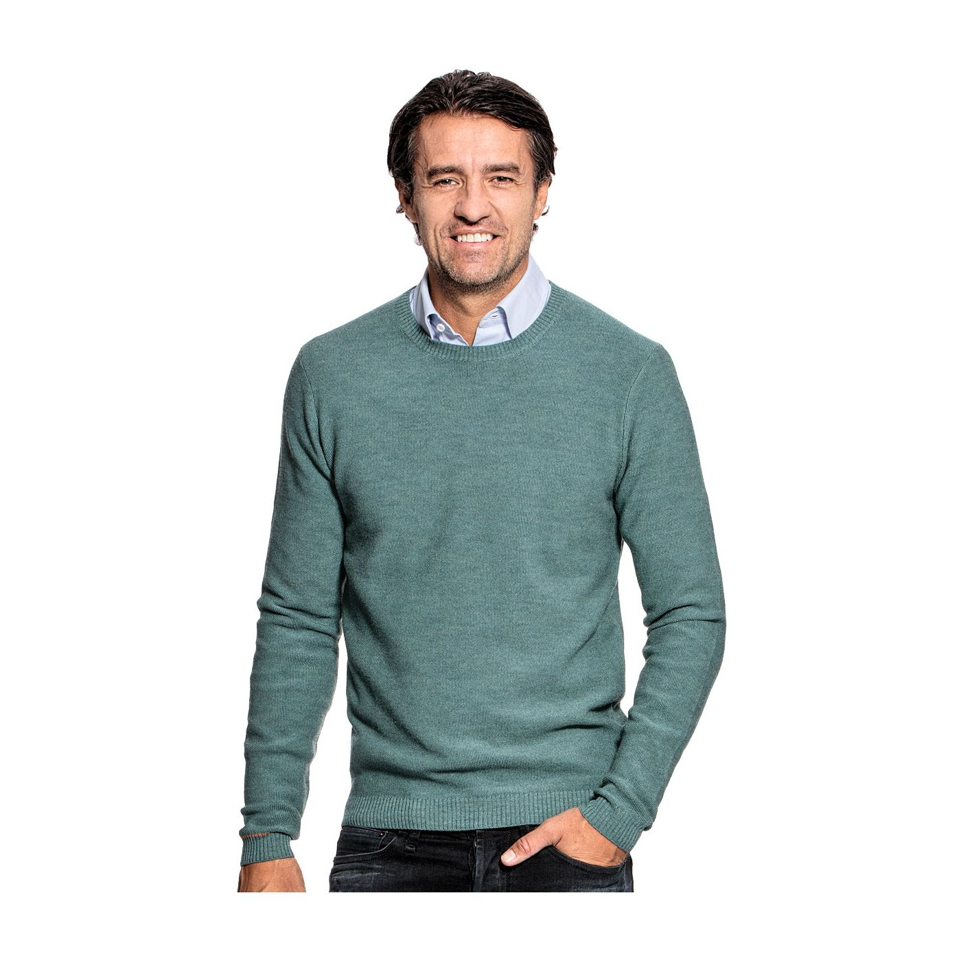Honeycomb knit sweater for men made of Merino wool in Light green