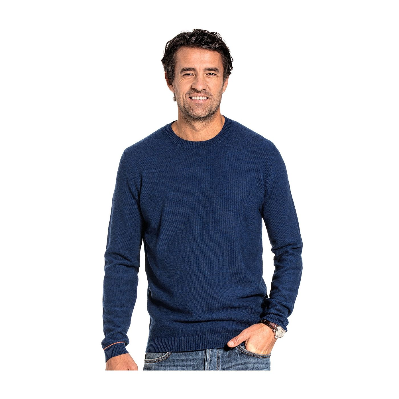 Honeycomb knit sweater for men made of Merino wool in Blue