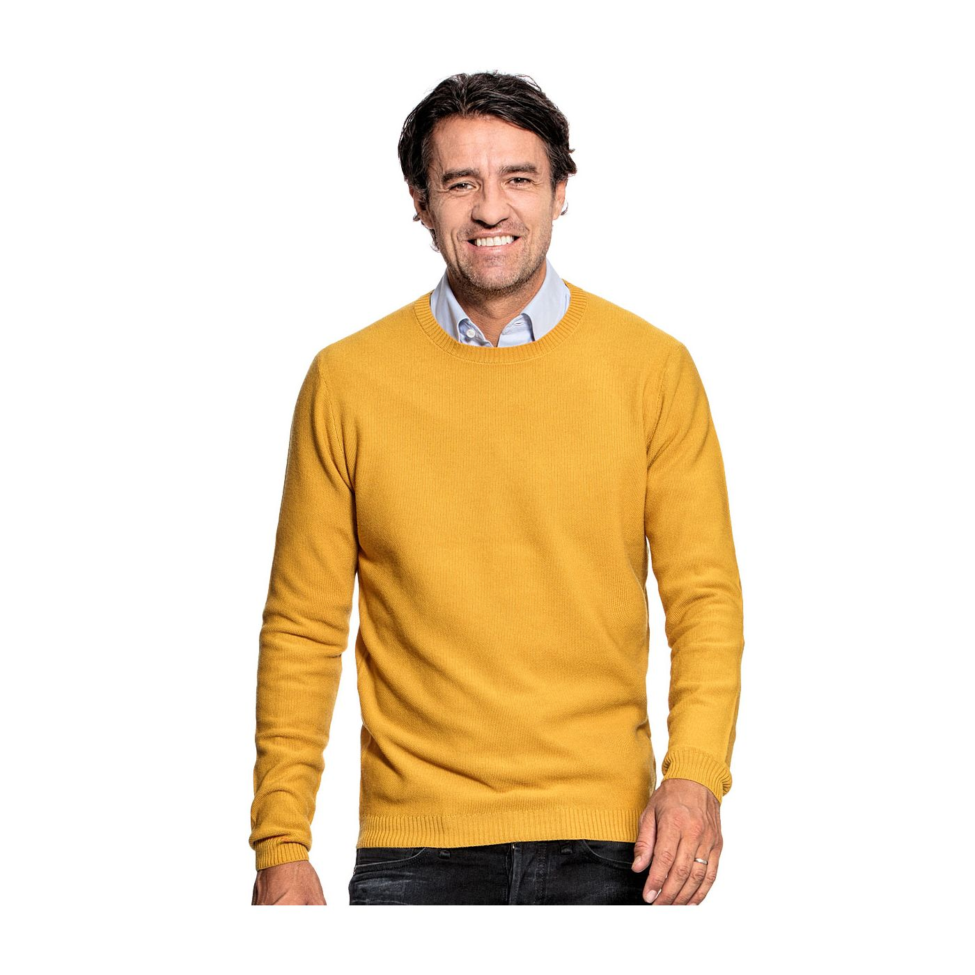 Honeycomb knit sweater for men made of Merino wool in Yellow