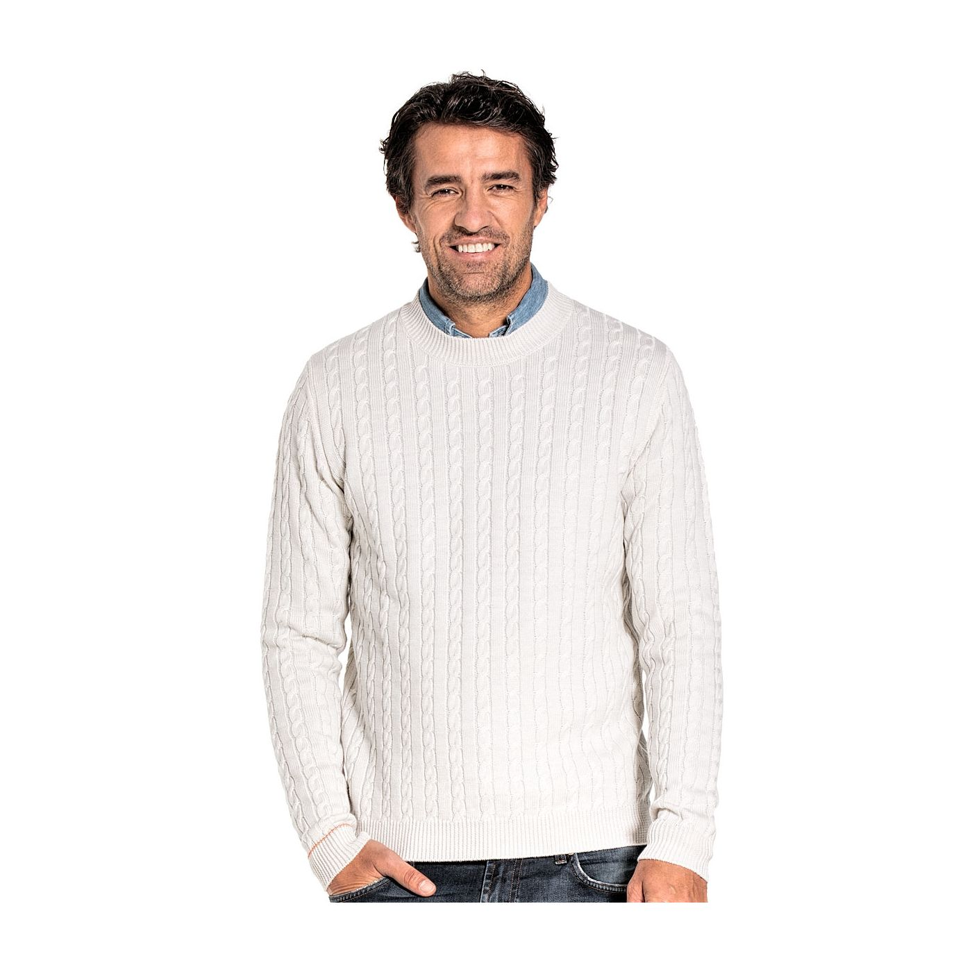 Cable knit sweater for men made of Merino wool in White