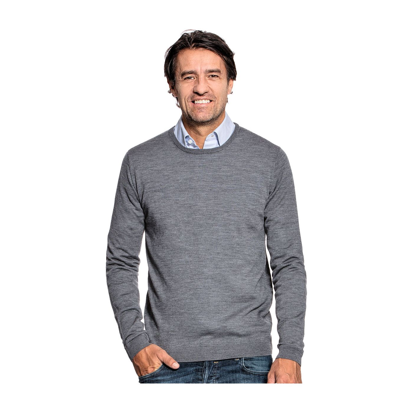 Crew neck sweater for men made of Merino wool in Grey