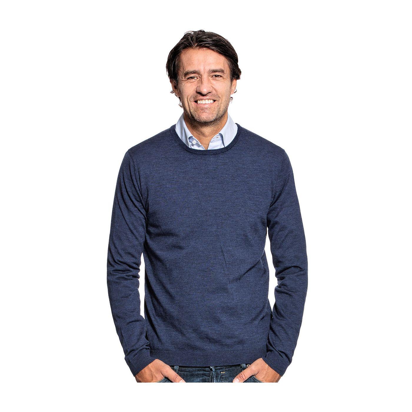 Ronde hals trui voor mannen gemaakt van merinowol in het Blauw