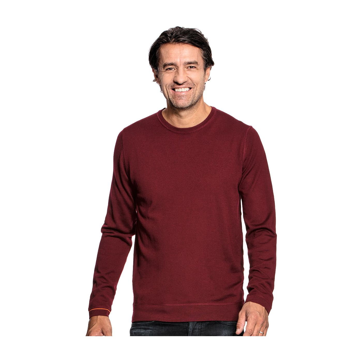 Crew neck pullover for men made of Merino wool in Red