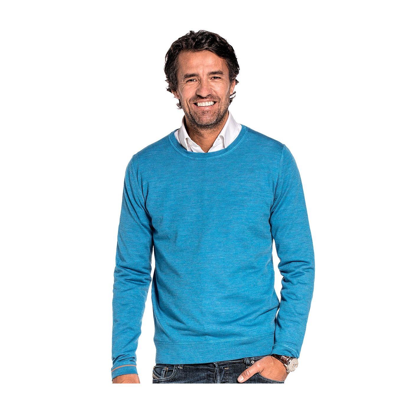 Ronde hals pullover voor mannen gemaakt van merinowol in het Helderblauw