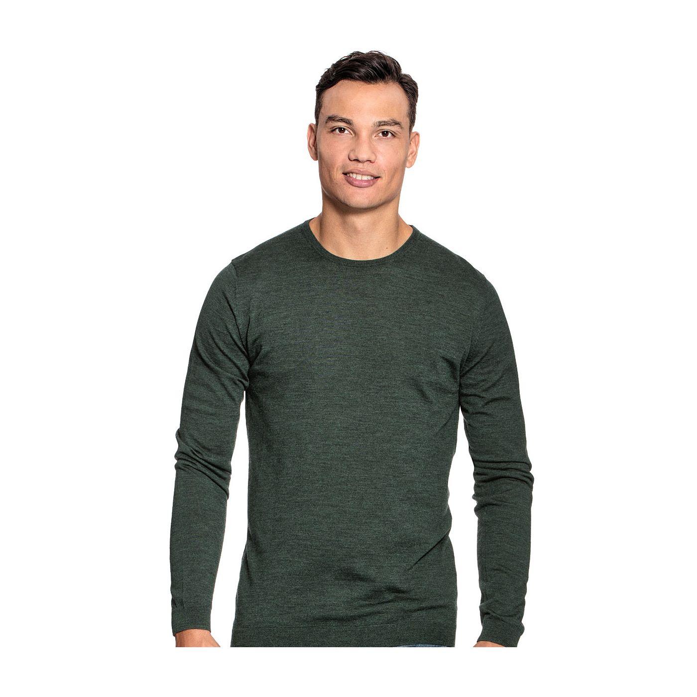 Extra lange ronde hals trui voor mannen gemaakt van merinowol in het Donkergroen