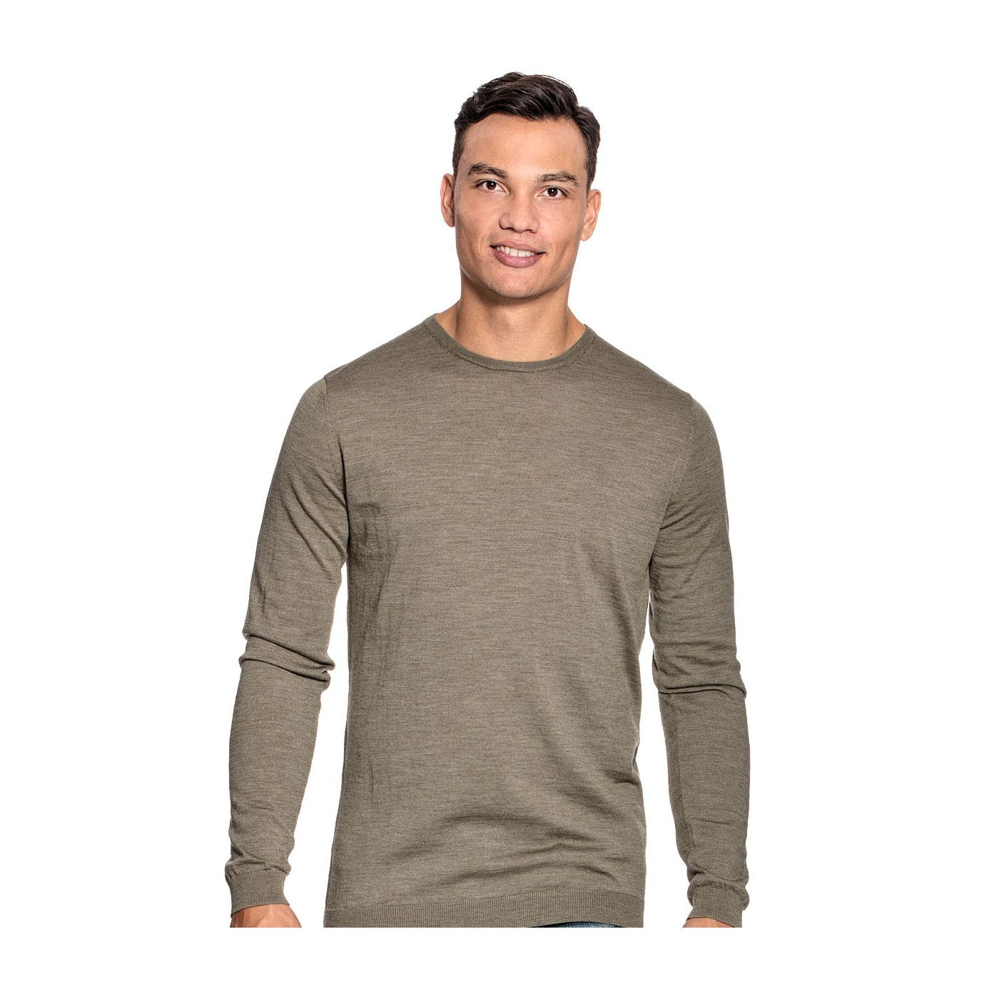 Extra long crew neck sweater for men made of Merino wool in Green