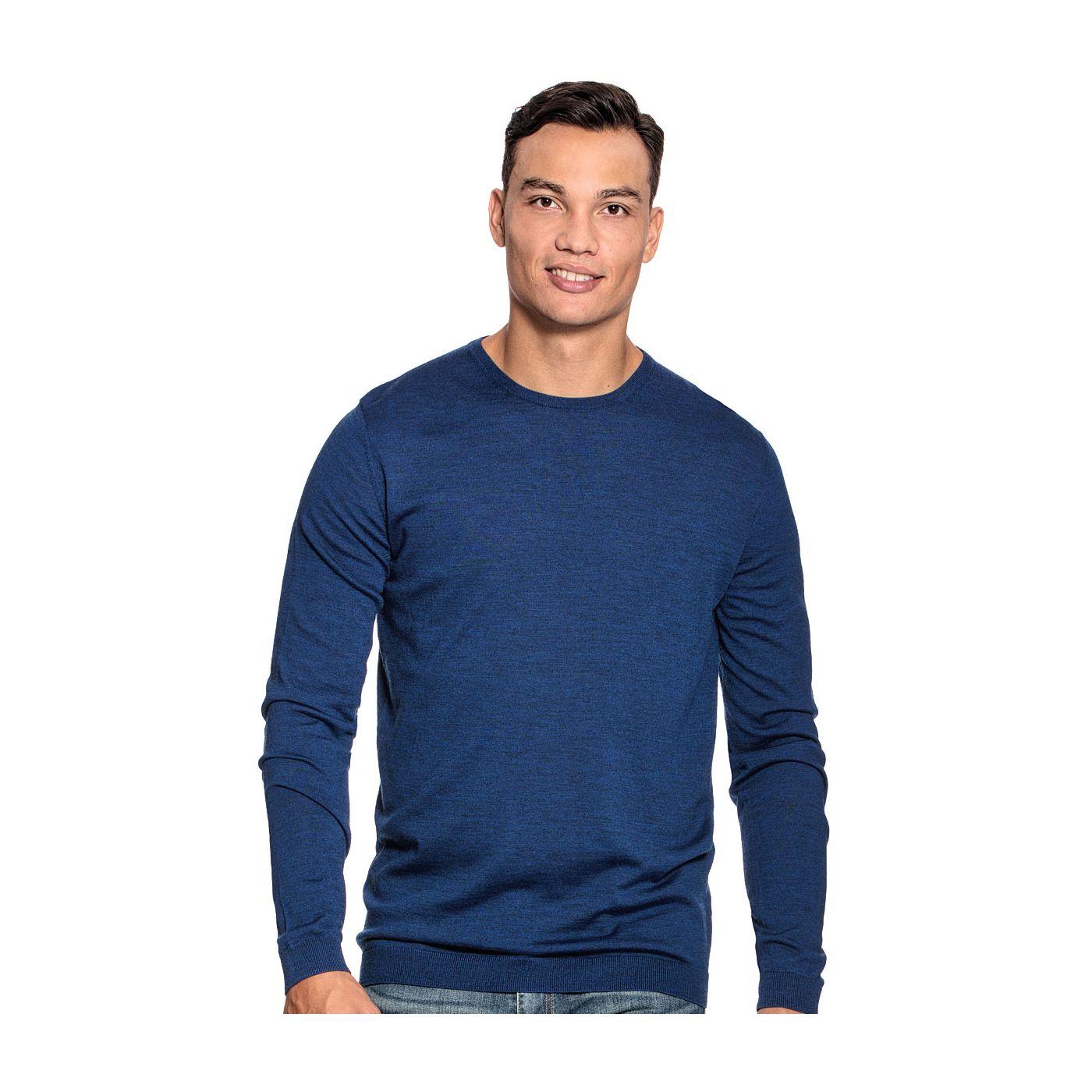 Extra lange ronde hals trui voor mannen gemaakt van merinowol in het Blauw