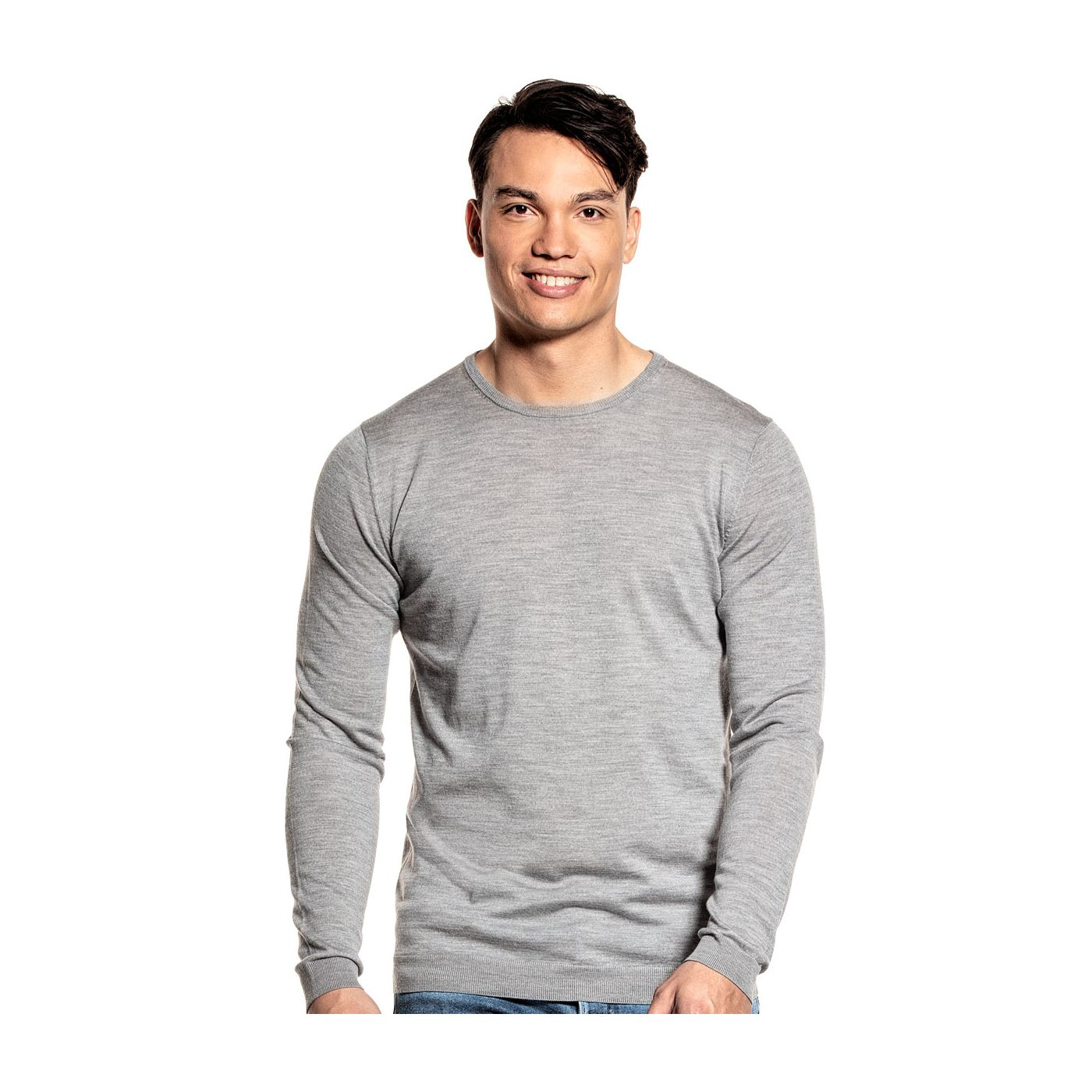 Extra long crew neck sweater for men made of Merino wool in Grey