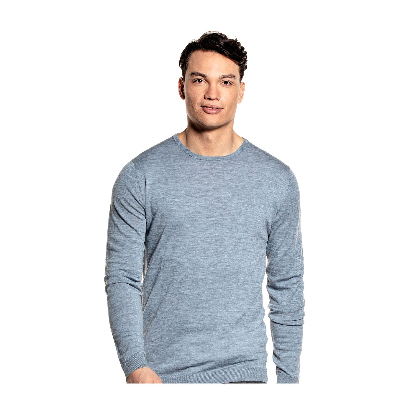 Extra long crew neck sweater for men made of Merino wool in Blue grey