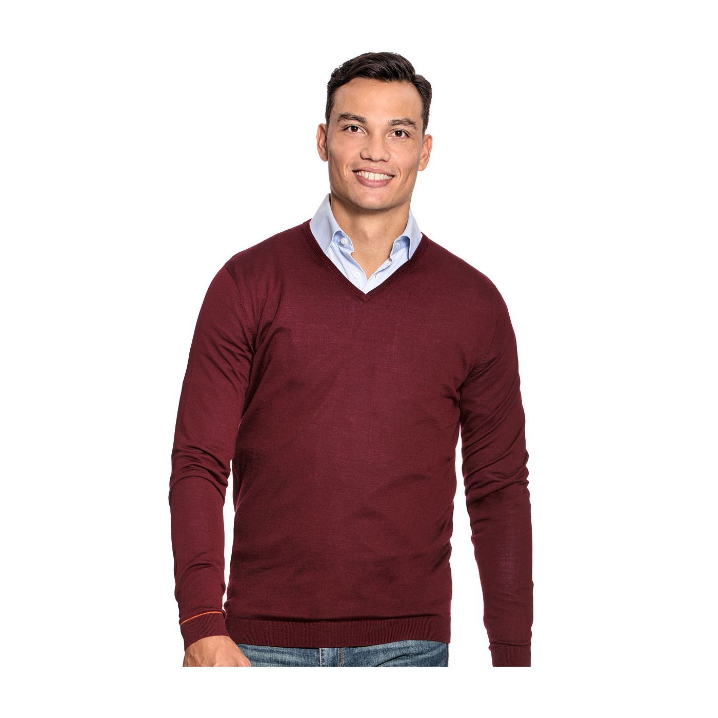 Extra long V Neck sweater for men made of Merino wool in Red