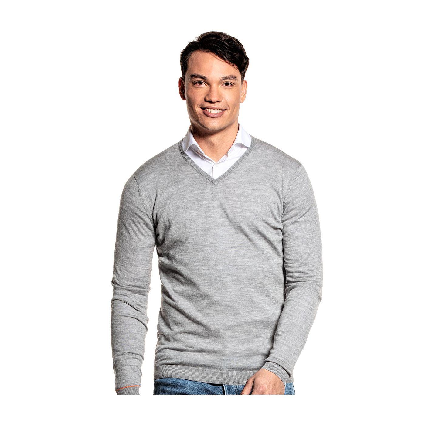 Extra langer Pullover mit V-Ausschnitt für Herren aus Merinowolle in Grau