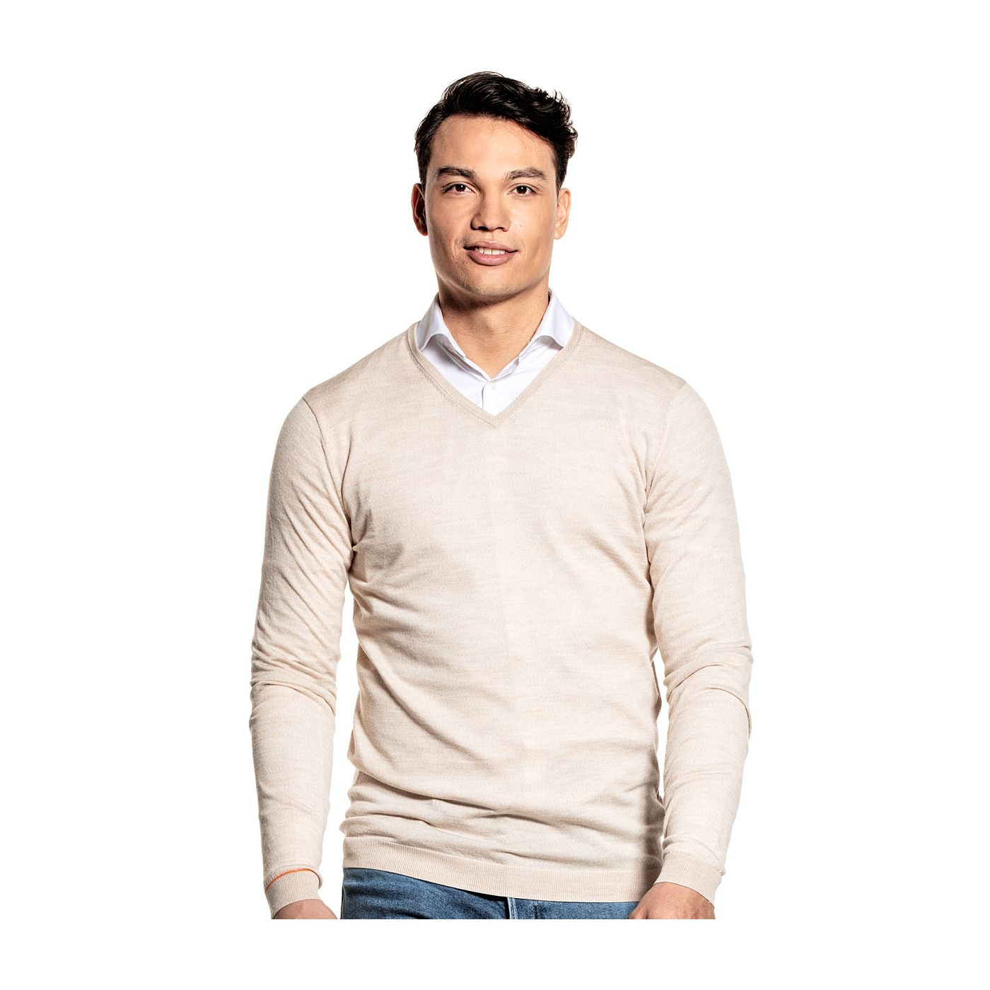 Extra long V Neck sweater for men made of Merino wool in Beige