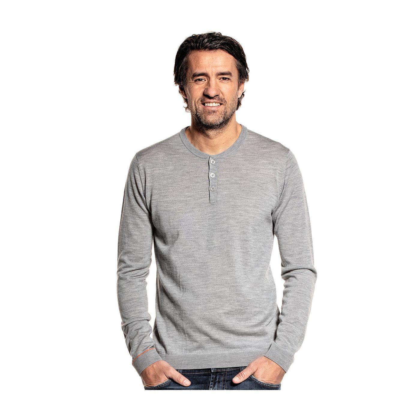Langarmshirt für Herren aus Merinowolle in Grau