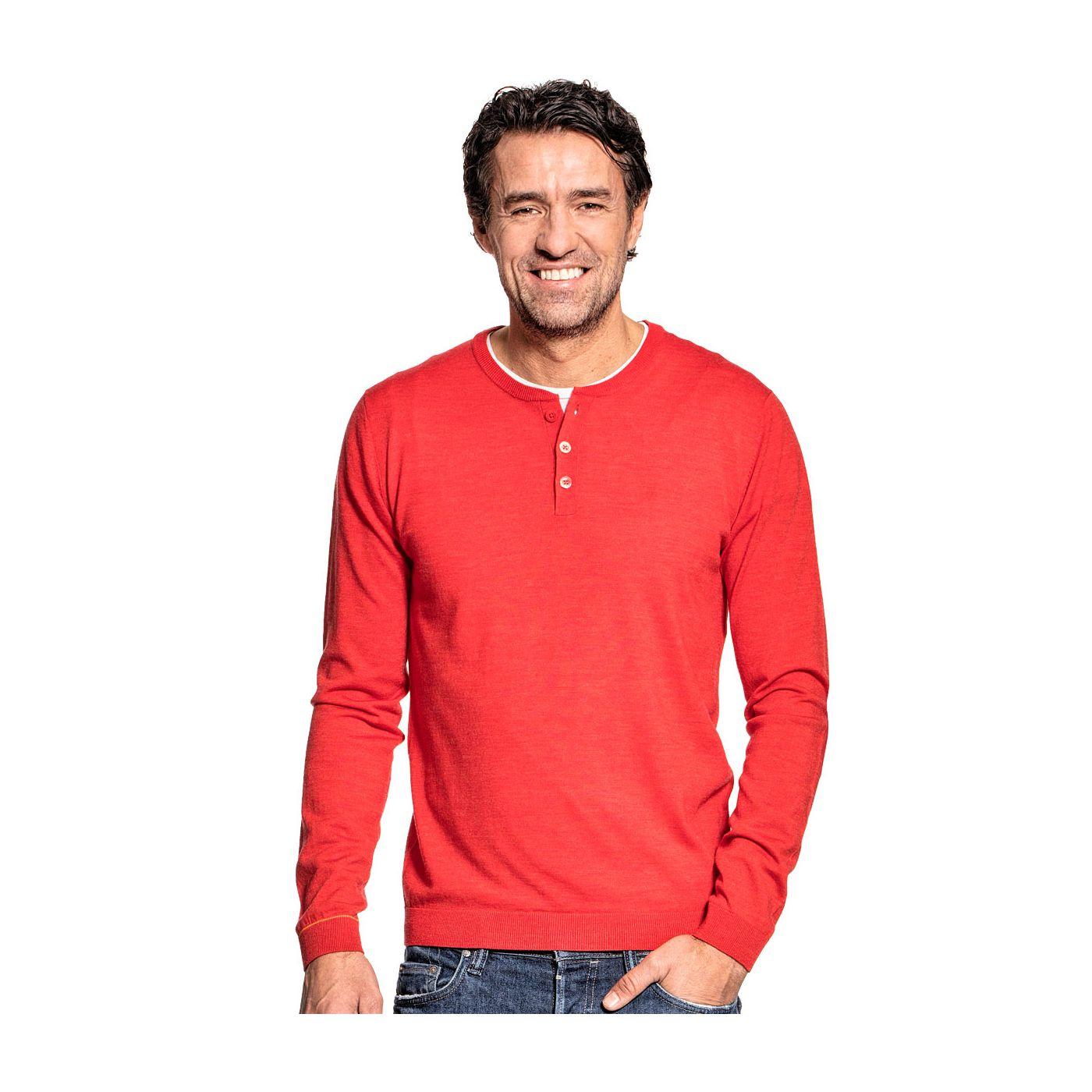 Henley long sleeve for men made of Merino wool in Orange
