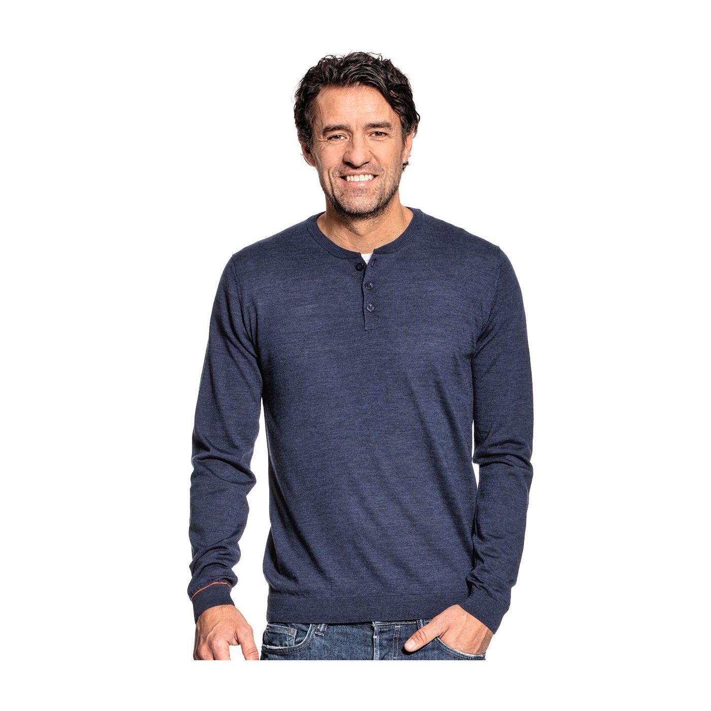 Henley long sleeve for men made of Merino wool in Blue
