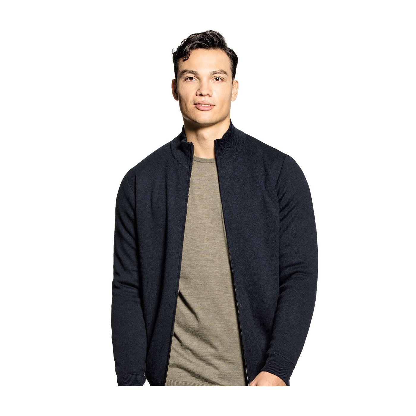 Jacket Extra long  voor mannen gemaakt van merinowol in het Donkerblauw