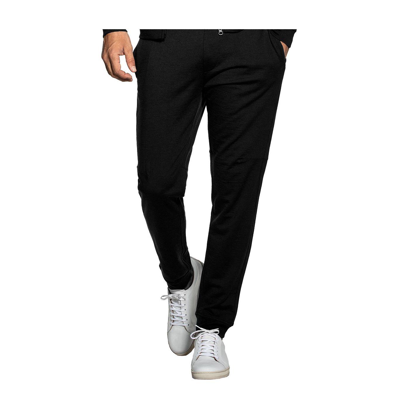 Sweatpants voor mannen gemaakt van merinowol in het Zwart