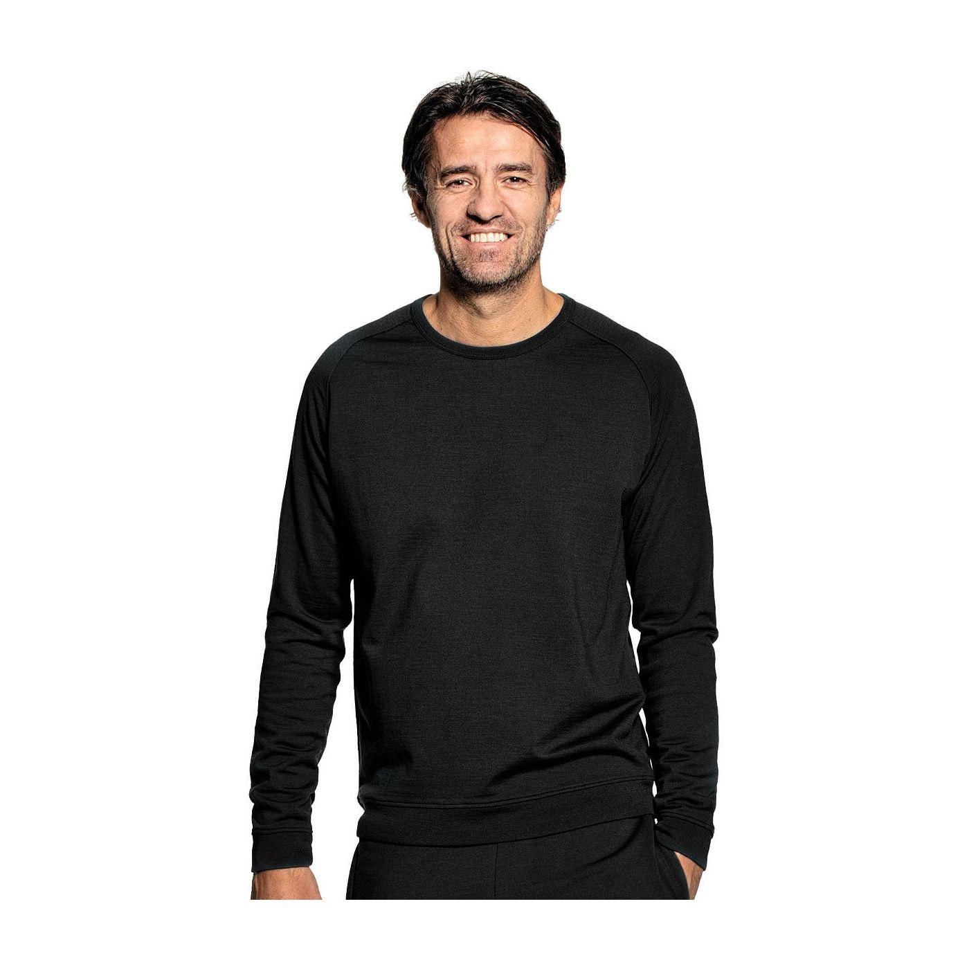 Sweatshirt voor mannen gemaakt van merinowol in het Zwart