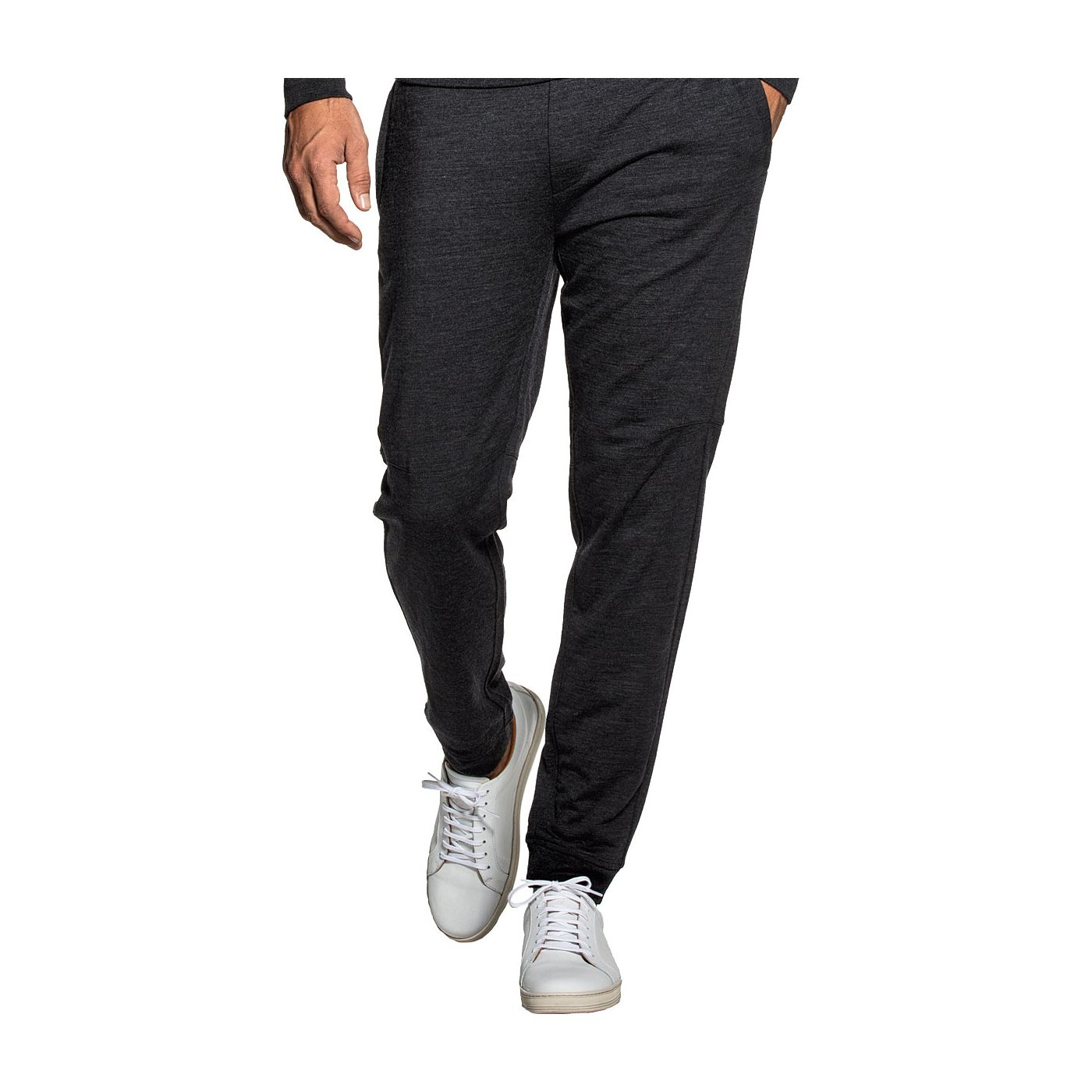 Sweatpants for men made of Merino wool in Dark grey