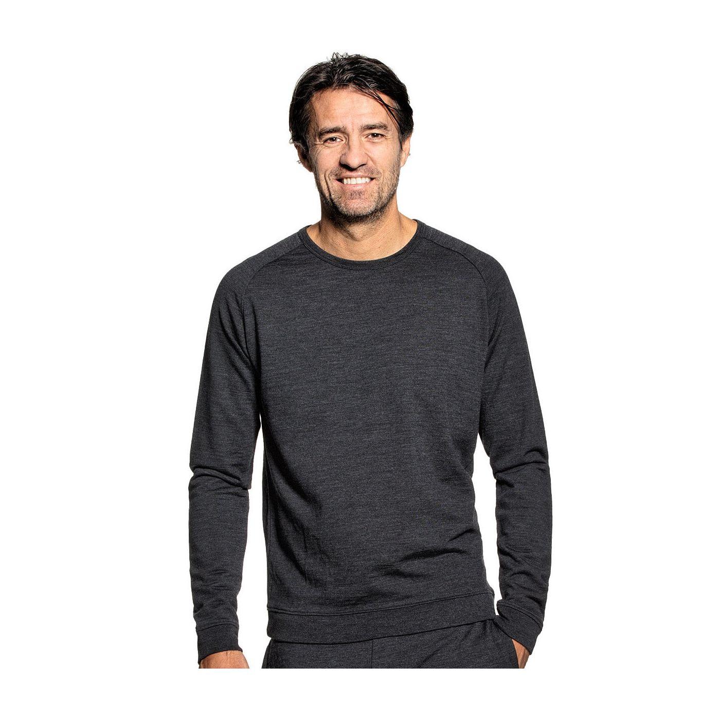 Sweatshirt voor mannen gemaakt van merinowol in het Donkergrijs
