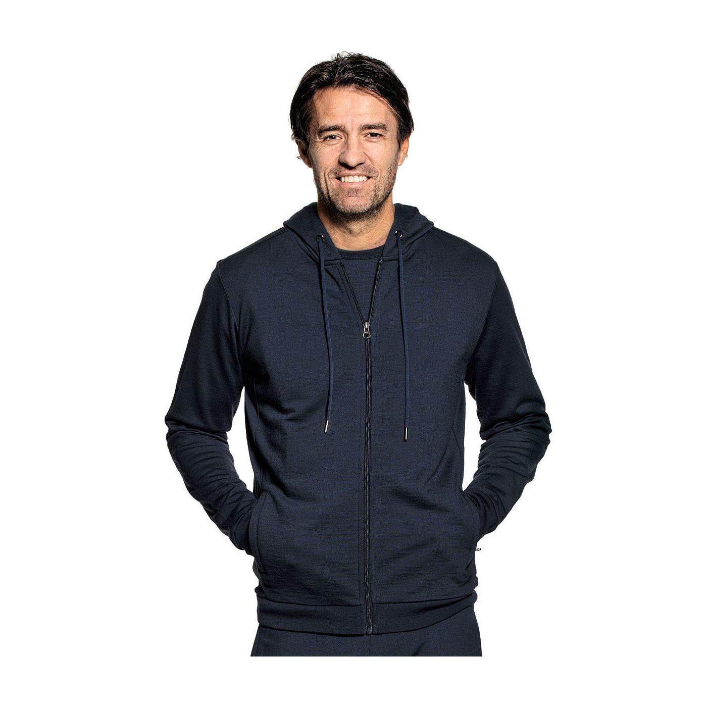 Hoodie with zipper for men made of Merino wool in Dark blue
