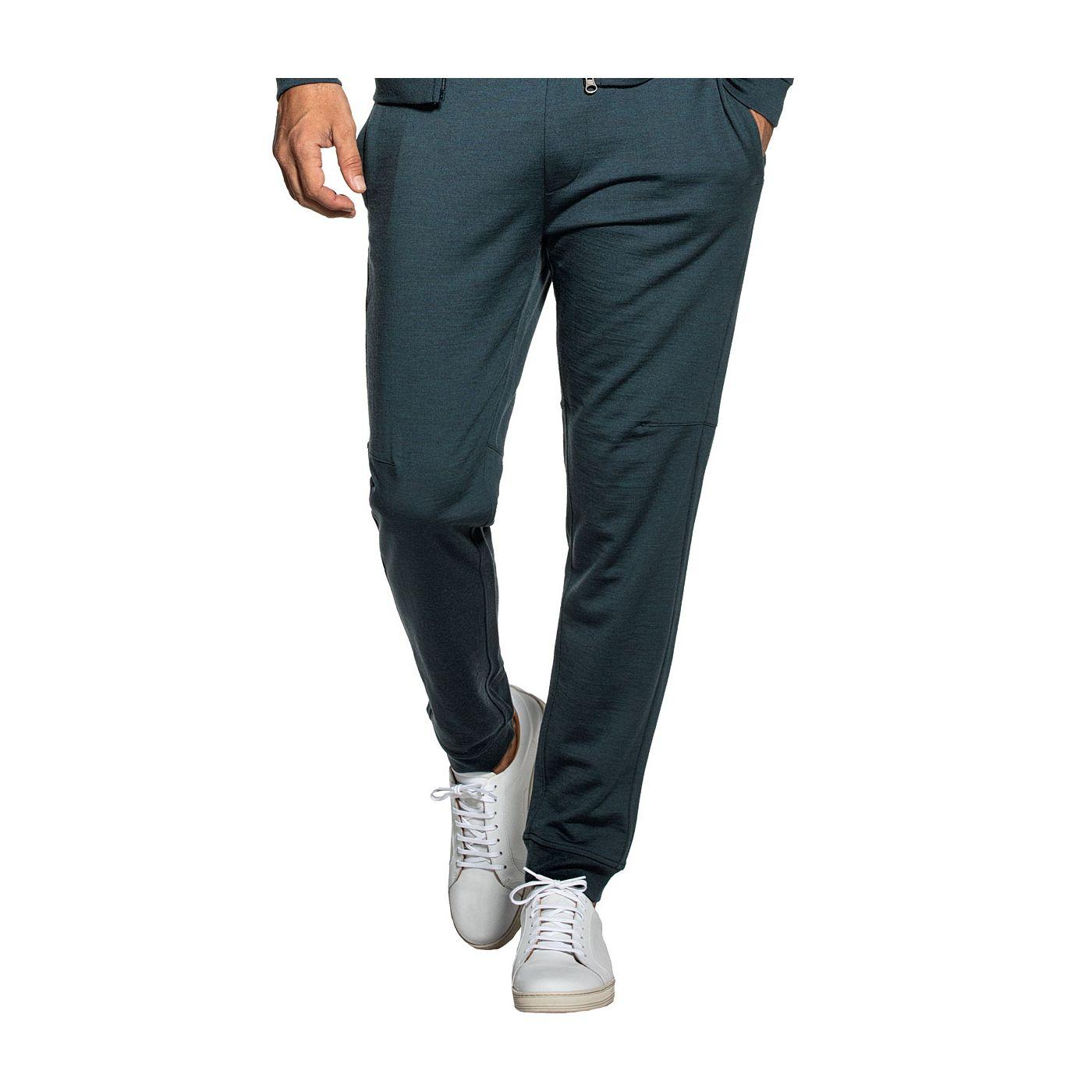 Sweatpants for men made of Merino wool in Blue green