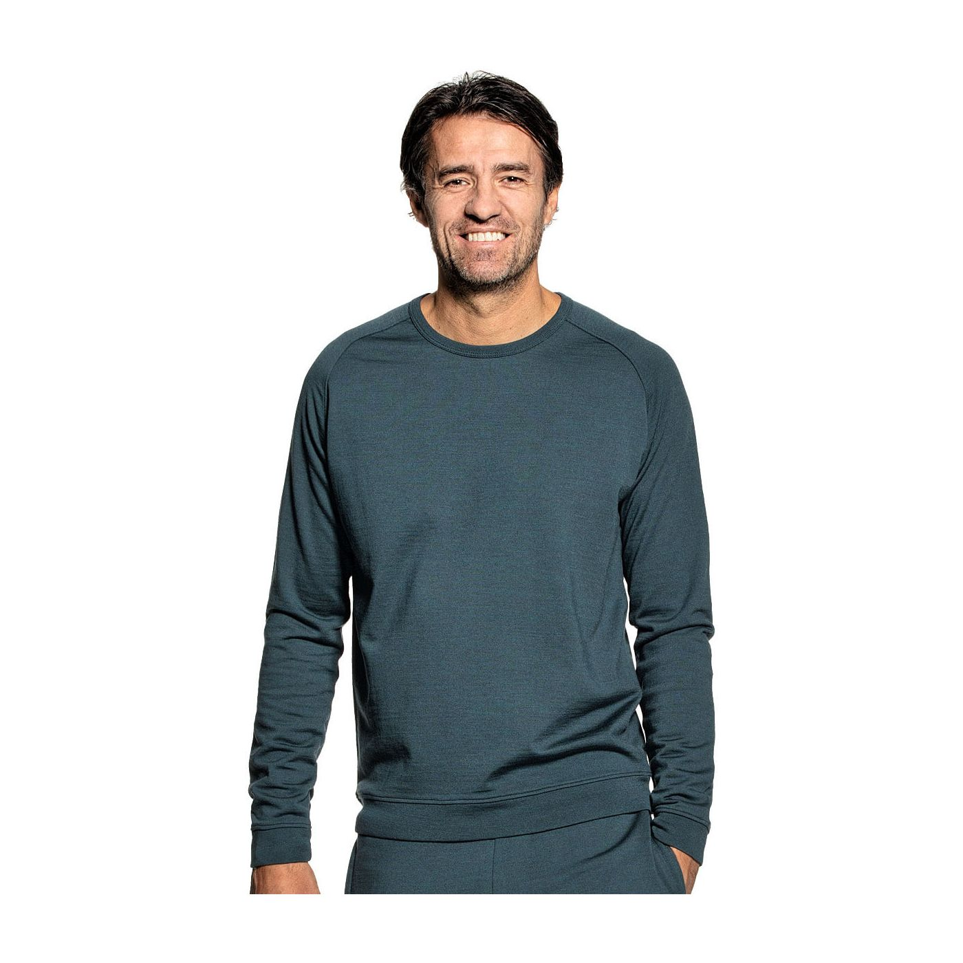 Sweatshirt for men made of Merino wool in Blue green