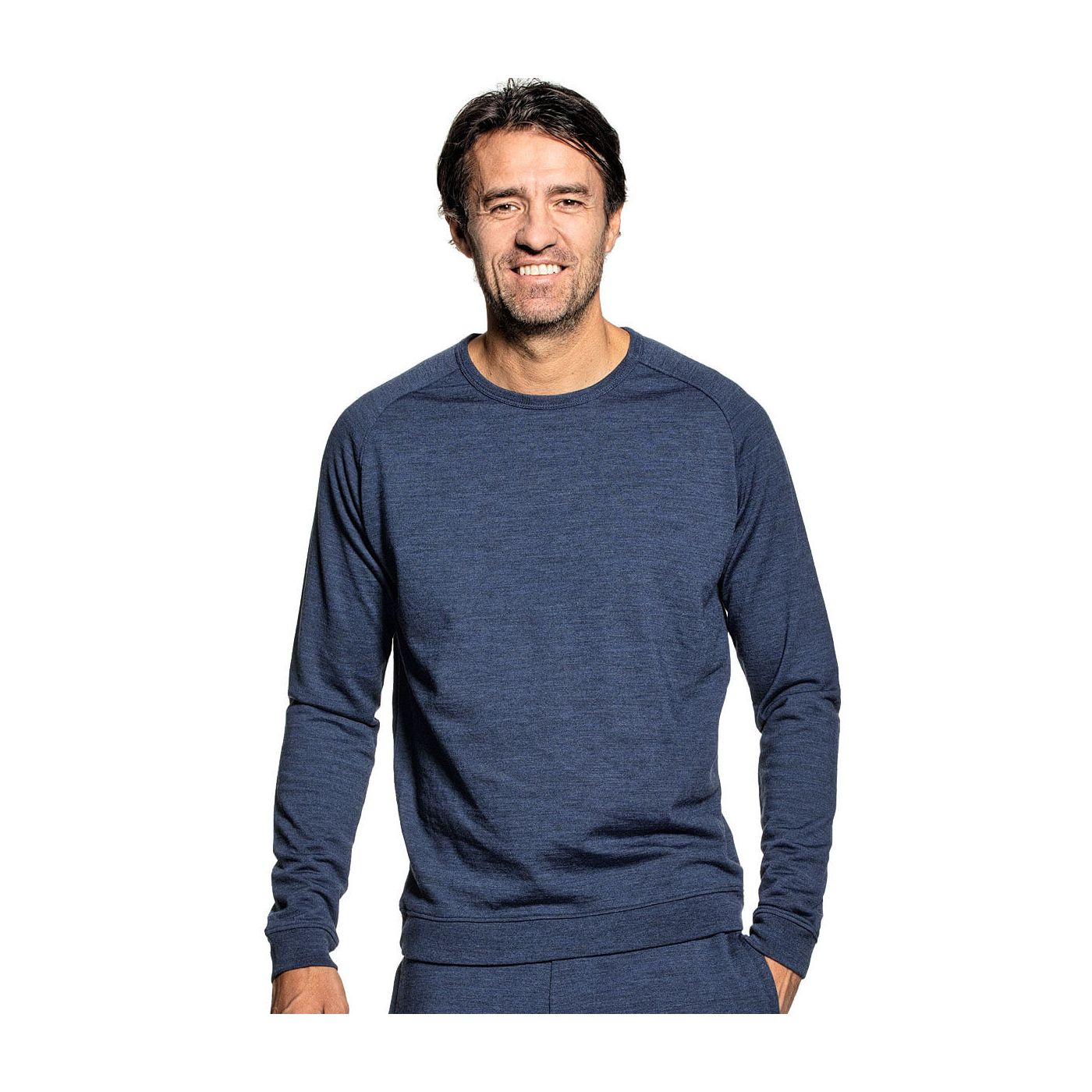 Sweatshirt for men made of Merino wool in Blue