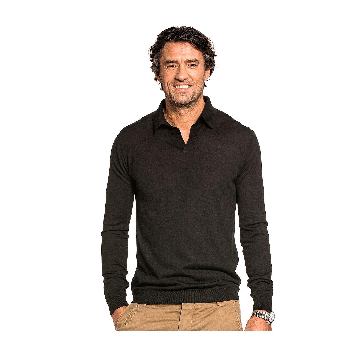 Riva Long Sleeve voor mannen gemaakt van merinowol in het Zwart