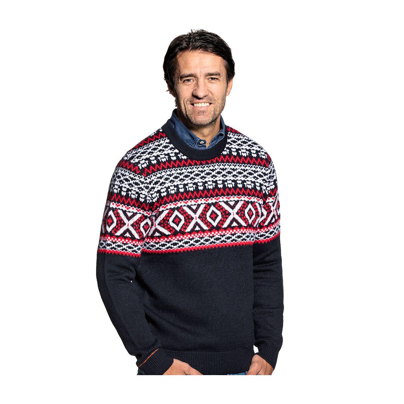 Nordic sweater for men made of Merino wool in Dark blue