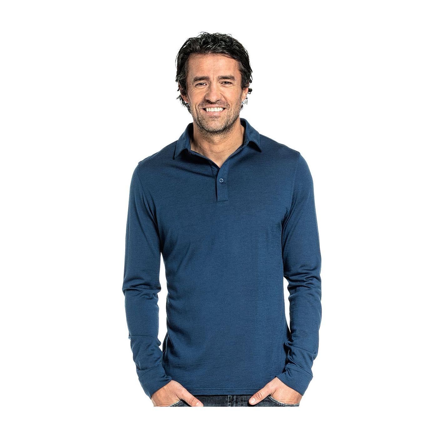 Shirt Polo Long Sleeve voor mannen gemaakt van merinowol in het Helderblauw