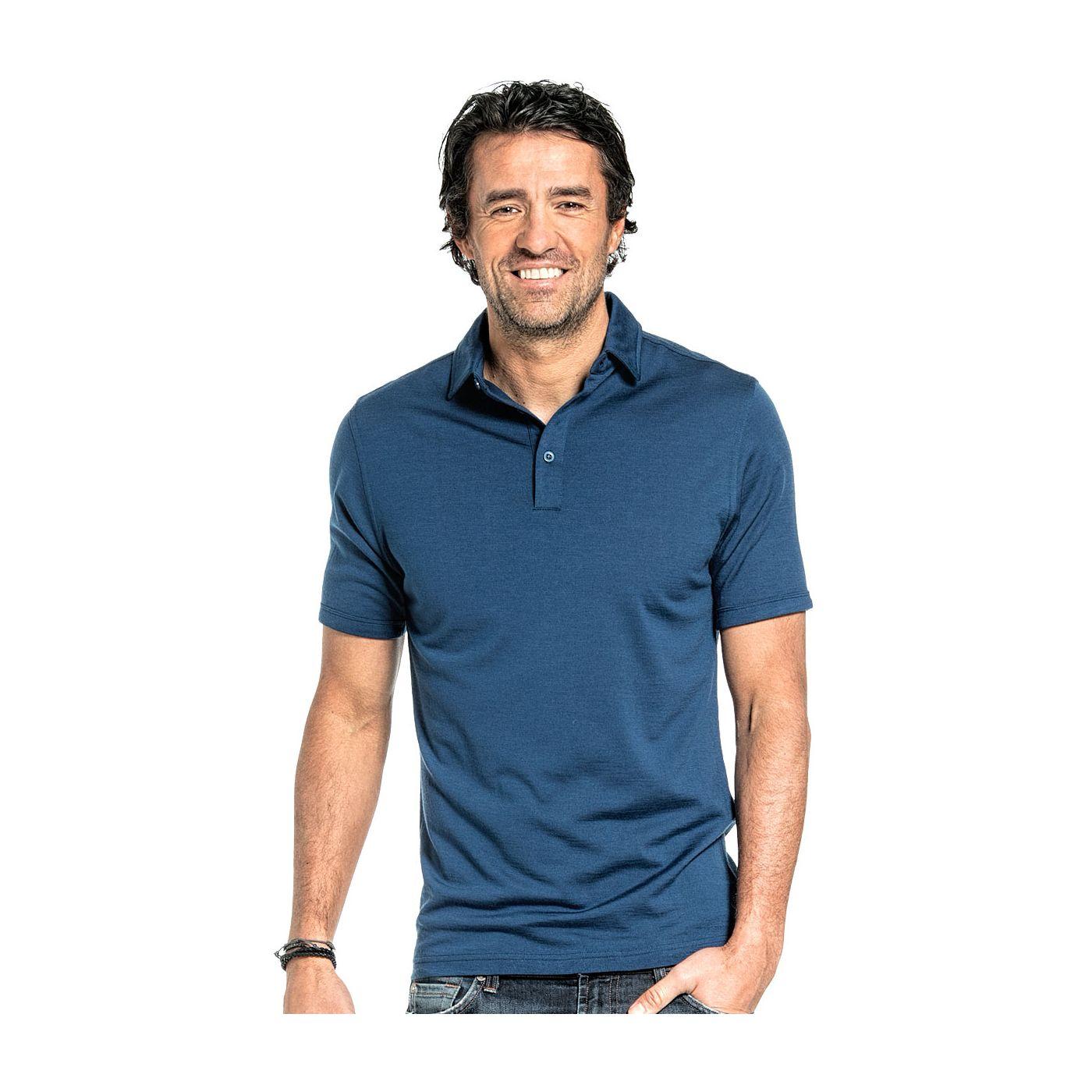 Shirt Polo Short Sleeve voor mannen gemaakt van merinowol in het Helderblauw