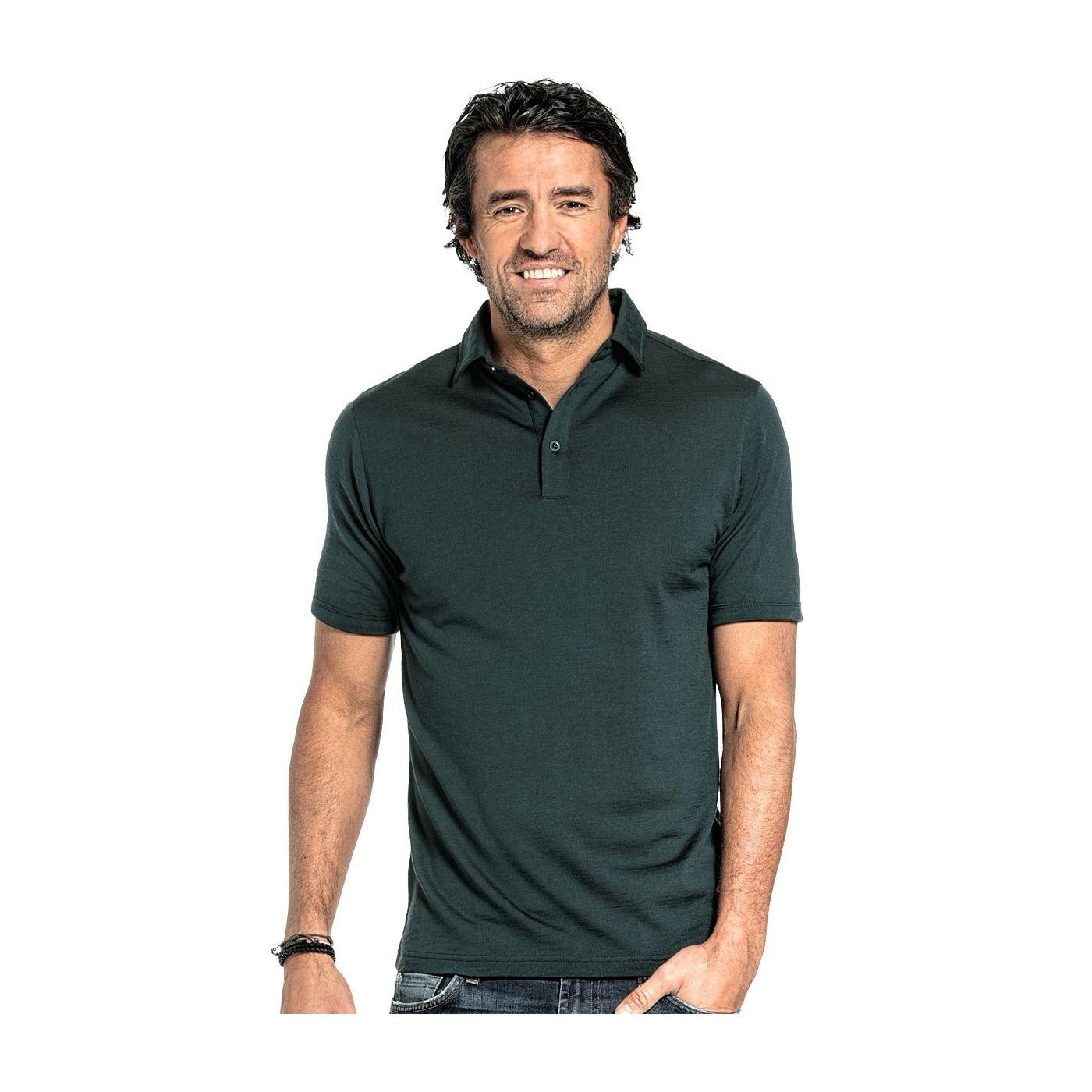 Polo shirt for men made of Merino wool in Dark green