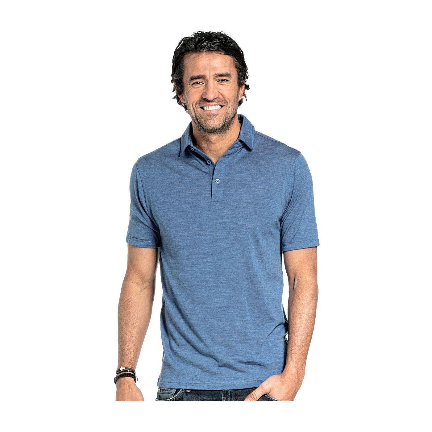 Poloshirt für Herren aus Merinowolle in Leuchtendes Blau