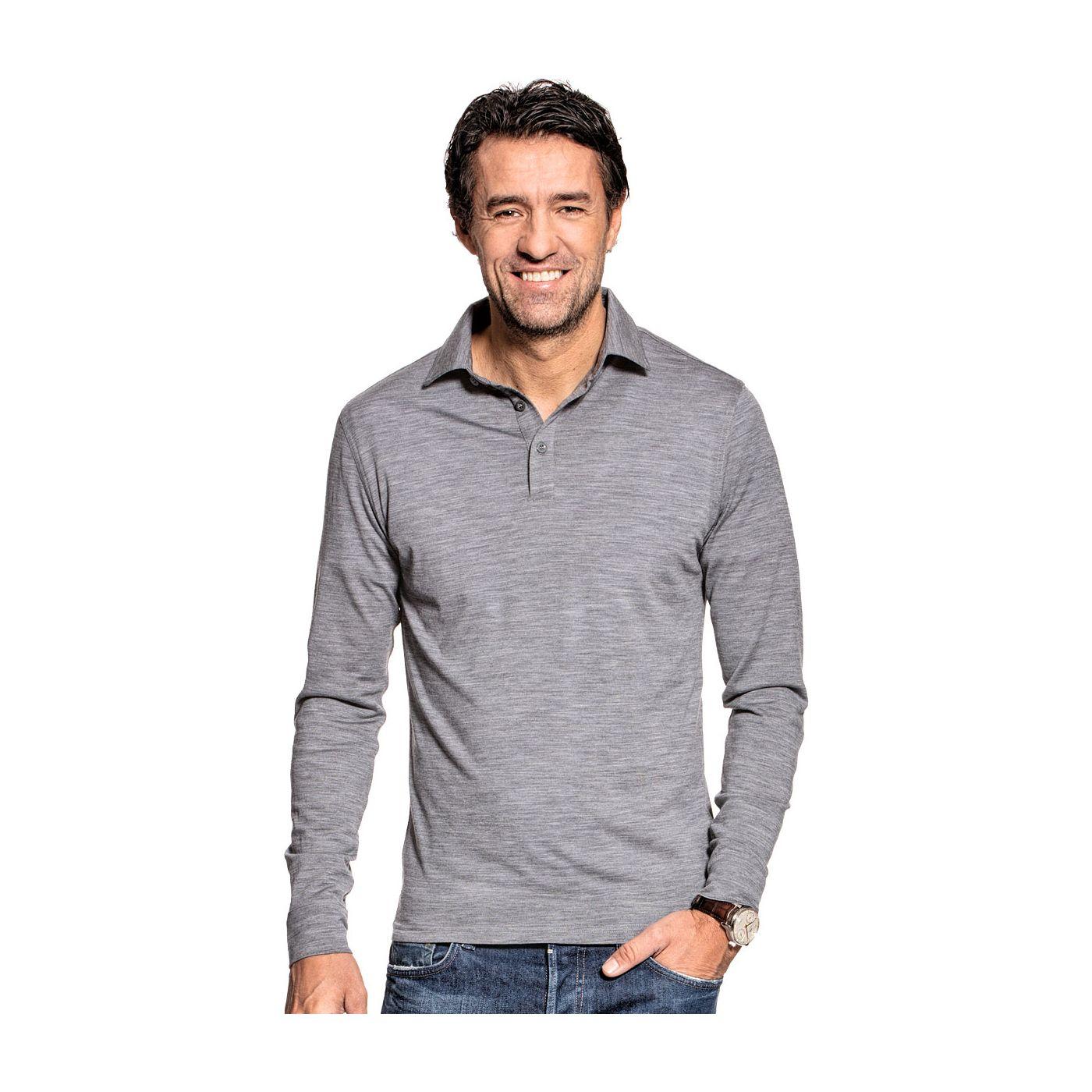 Shirt Polo Long Sleeve Mid Grey