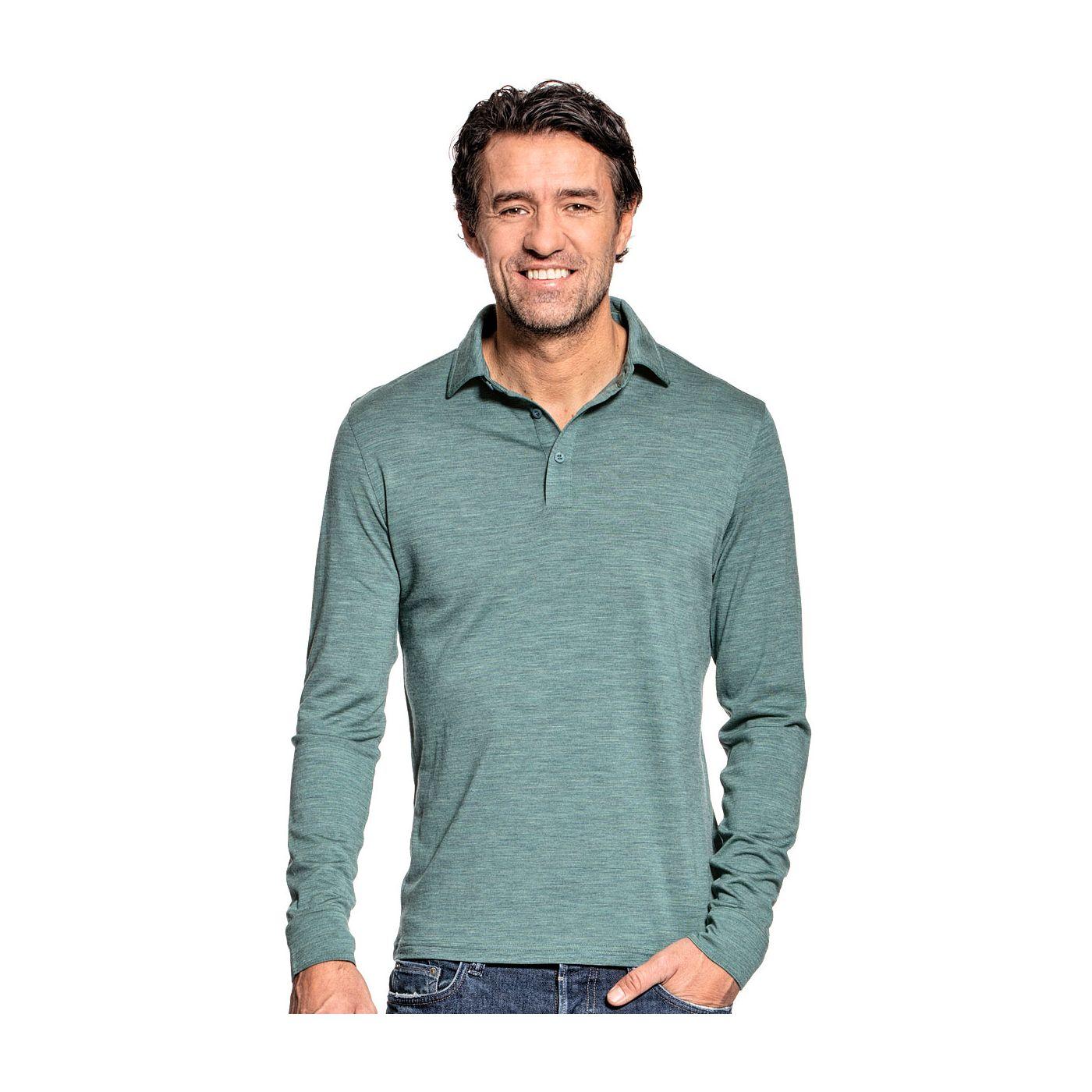 Shirt Polo Long Sleeve voor mannen gemaakt van merinowol in het Lichtgroen