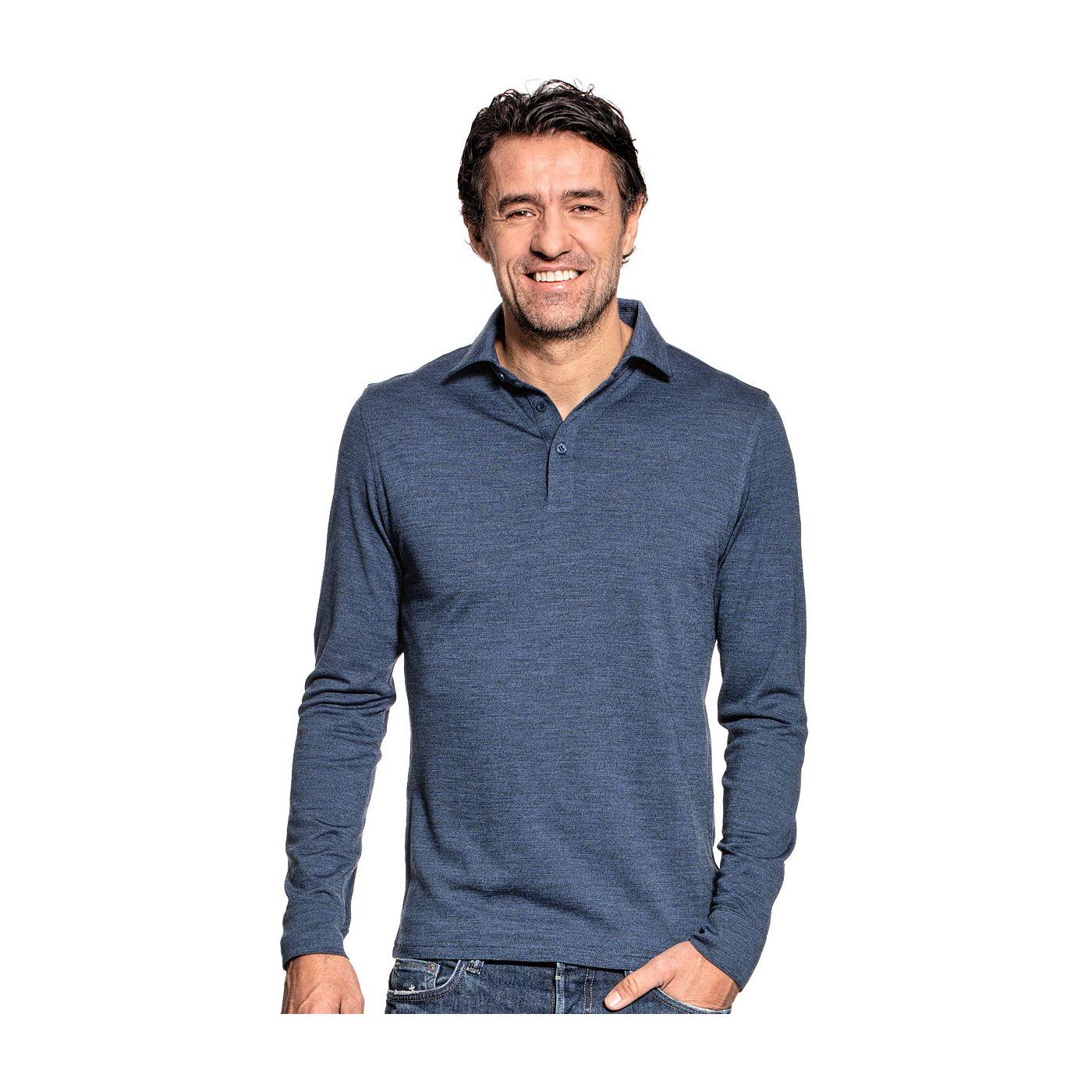 Long sleeve polo voor mannen gemaakt van merinowol in het Blauw