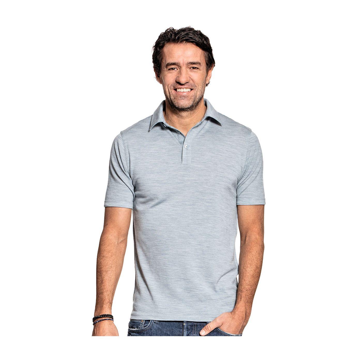 Shirt Polo Short Sleeve voor mannen gemaakt van merinowol in het Lichtblauw