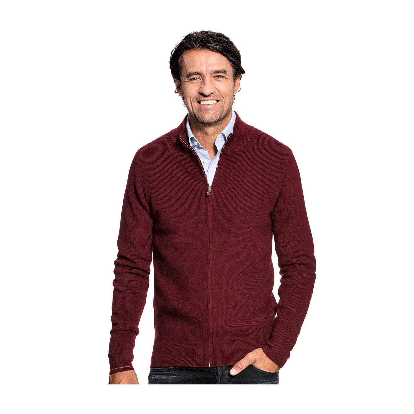 Vest met rits voor mannen gemaakt van merinowol in het Rood