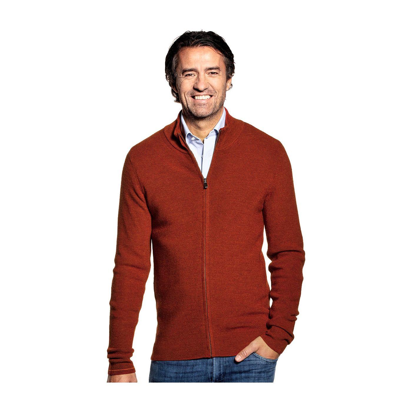 Vest met rits voor mannen gemaakt van merinowol in het Oranje