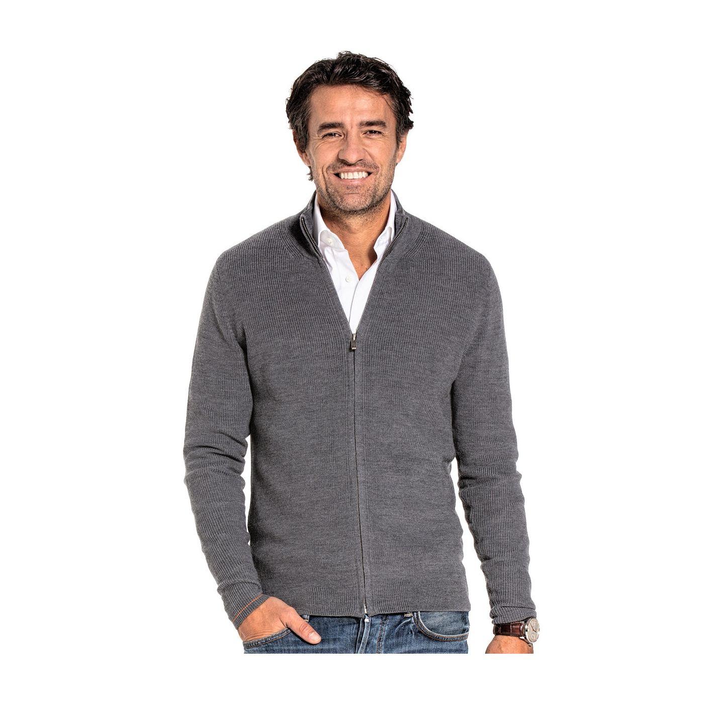 Vest met rits voor mannen gemaakt van merinowol in het Grijs