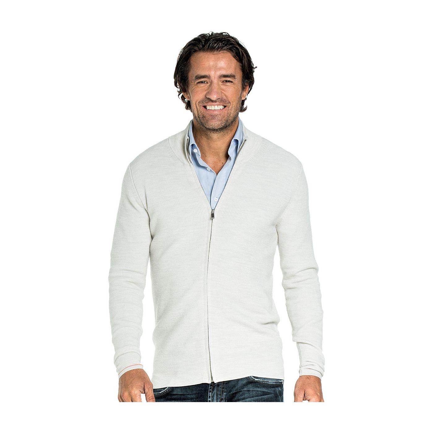 Vest met rits voor mannen gemaakt van merinowol in het Wit