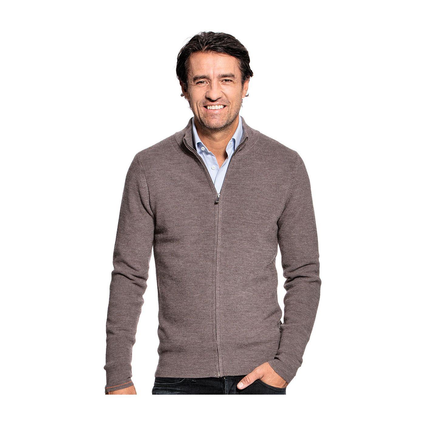 Vest met rits voor mannen gemaakt van merinowol in het Bruin