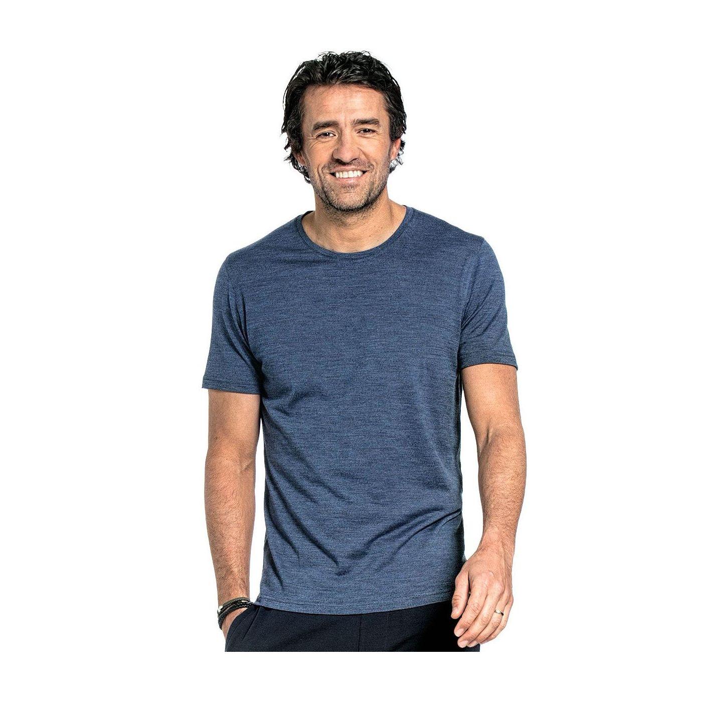 Shirt Round Neck voor mannen gemaakt van merinowol in het Blauw