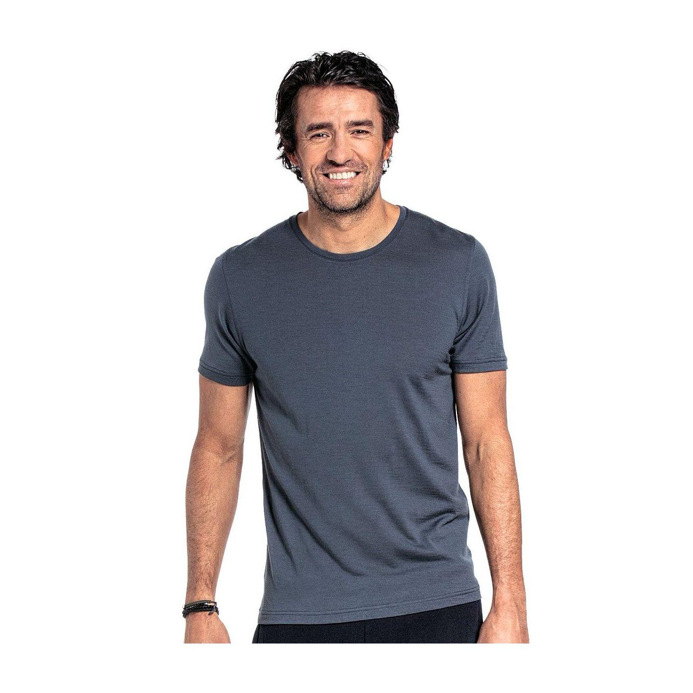 T-shirt voor mannen gemaakt van merinowol in het Grijsblauw
