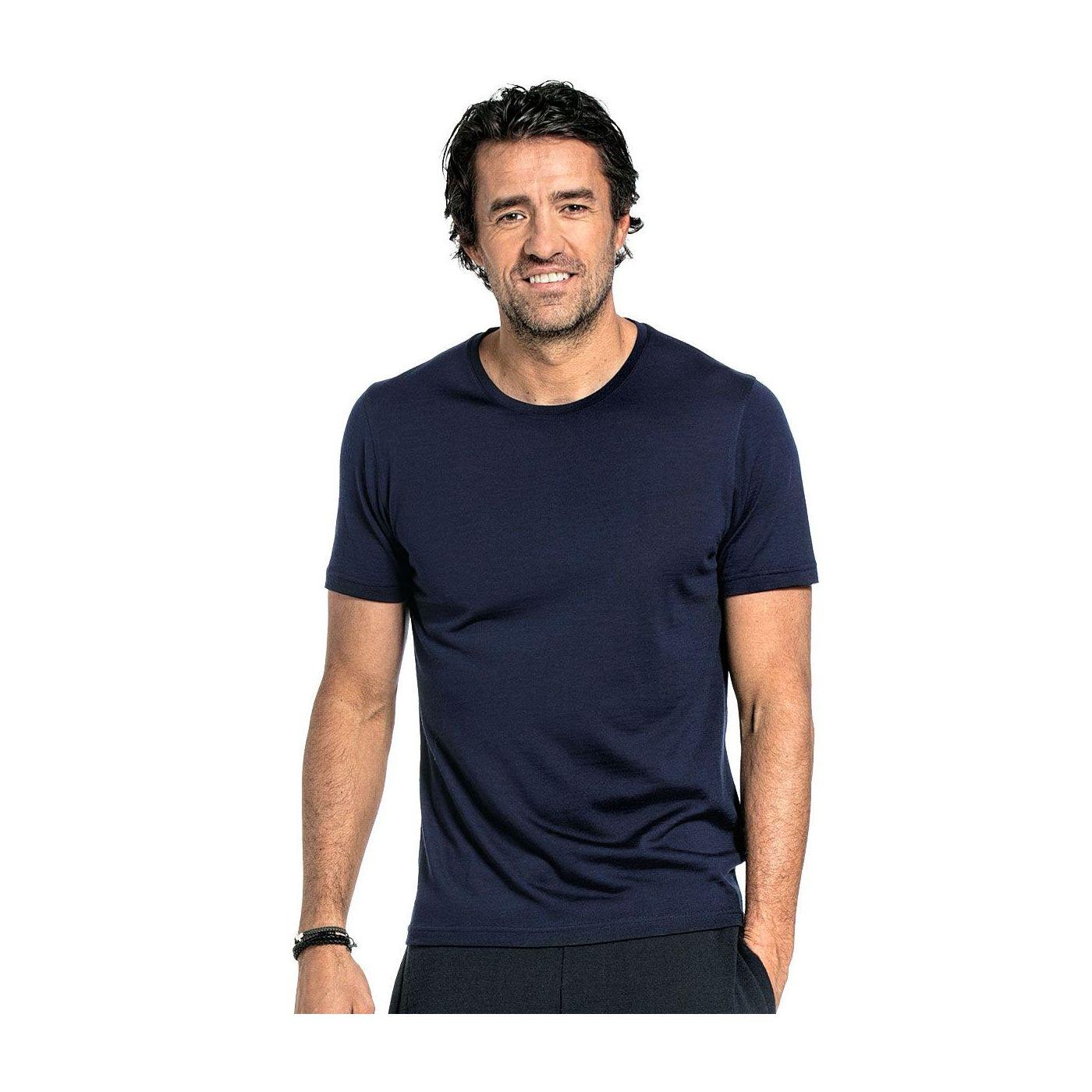 Shirt Round Neck voor mannen gemaakt van merinowol in het Donkerblauw
