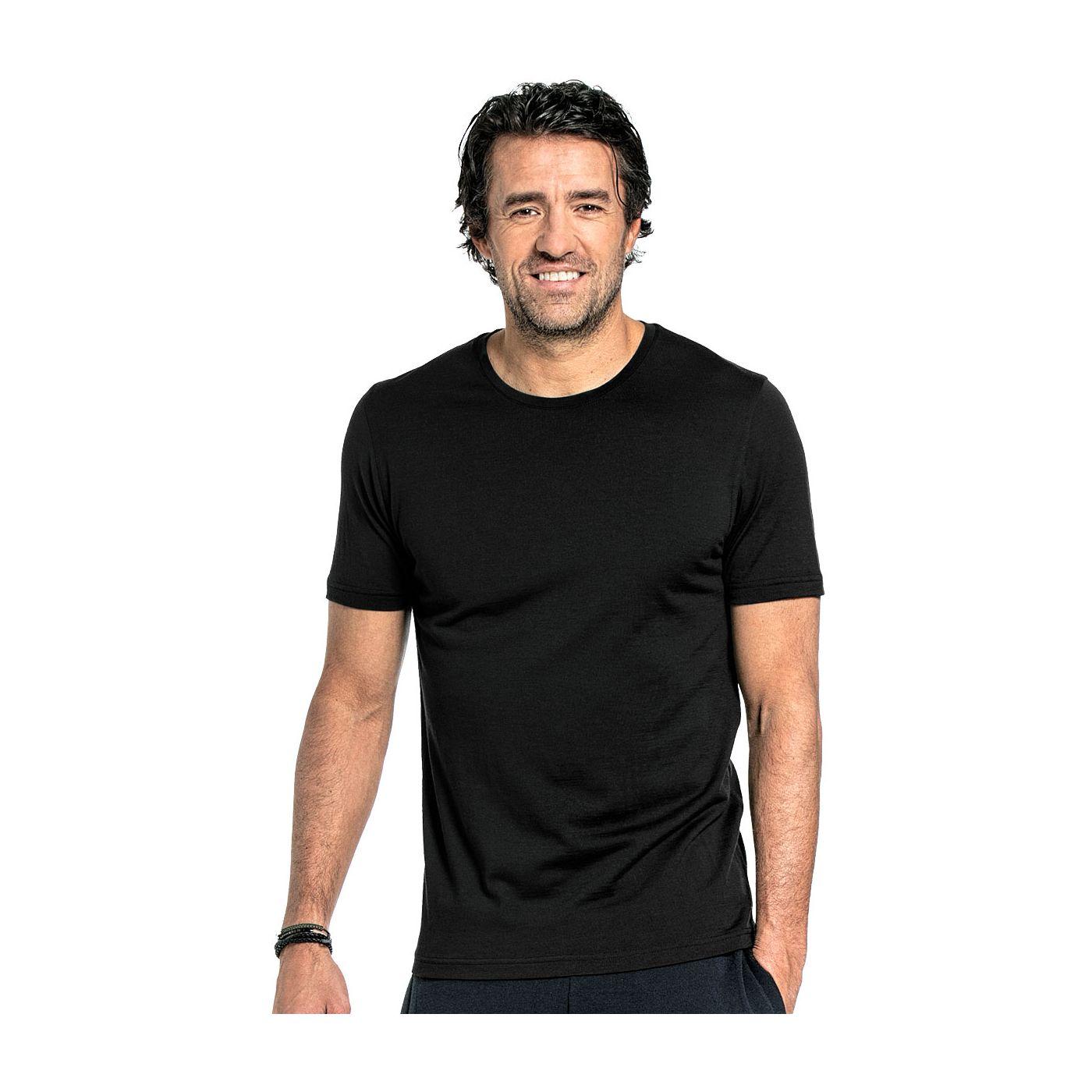 T-shirt voor mannen gemaakt van merinowol in het Zwart