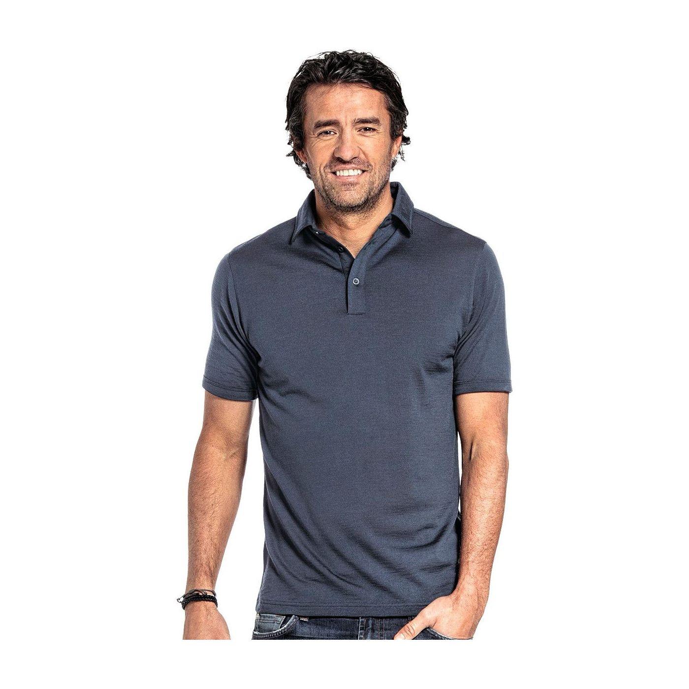 Shirt Polo Short Sleeve voor mannen gemaakt van merinowol in het Grijsblauw
