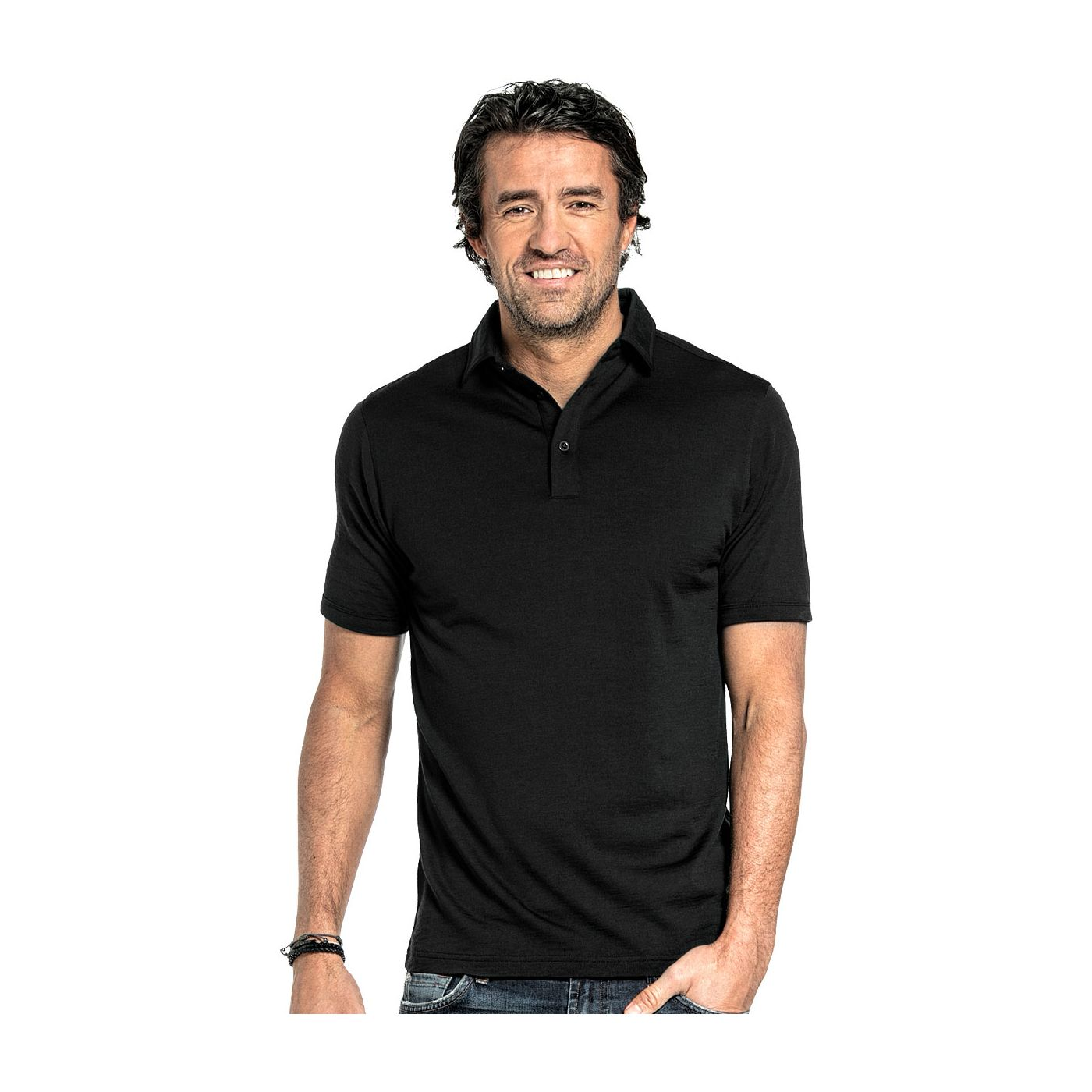 Poloshirt für Herren aus Merinowolle in Schwarz